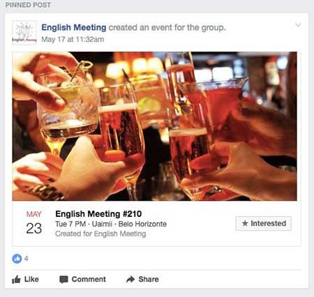 Conversação em Inglês na sua cidade, pode ver os reuniões em ingles para falar ingles no Facebook