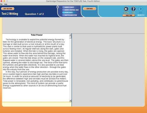 Prova TOEFL iBT Simulado, este software toefl simula o design e a sensação da prova toefl
