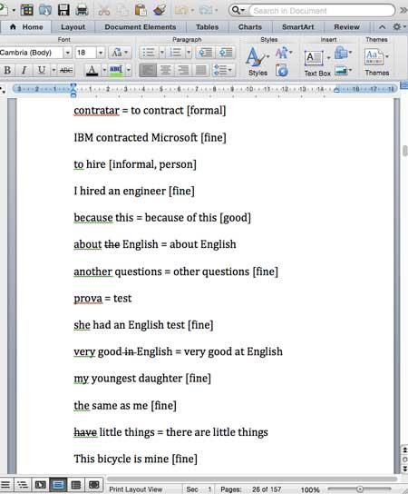 Notas completados Aulas de Inglês Particular